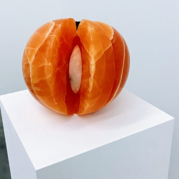 Nevine mahmoud, orange stone, marble sculpture, dreamers awake,