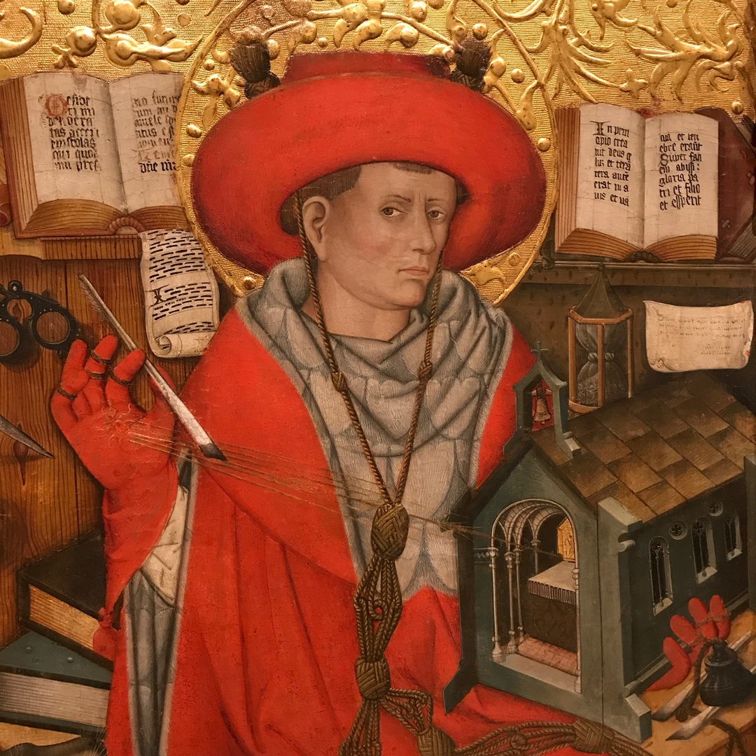 fashion in art, red coat, royal red, st. jerome, jaume ferrer, gothic style, gothic art, gothic fashion, fashion in paintings, fashion history, fashion details