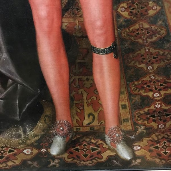 fashion in paintings, fashion history, shoes in art, red tights, london, portrait gallery, Robert Peake Elder
