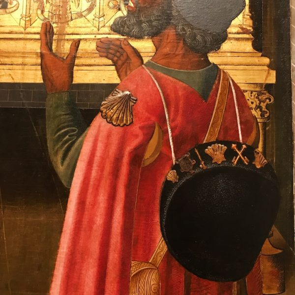 wooden altarpiece, gothic art, medieval art, vergos group, fashion in paintings, fashion in art, fashion history, men fashion, red cape, religious art