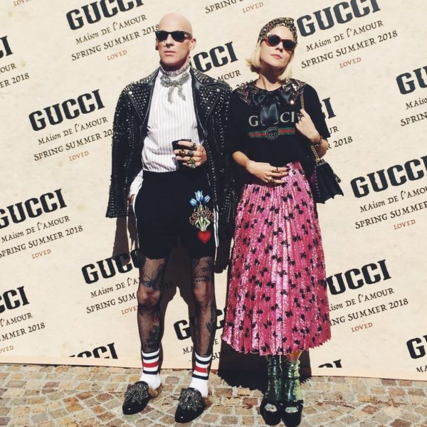 gucci runway, stained jabot, gucci fashion show,