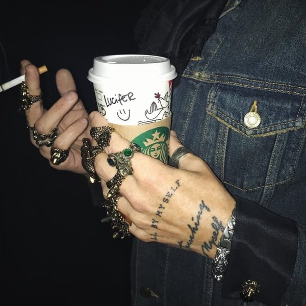 Gucci rings, gucci men, hand tattoo, luciferous, coffee at night,